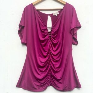 Maurices Fuchsia Ruched Blouse Rhinestone Detail